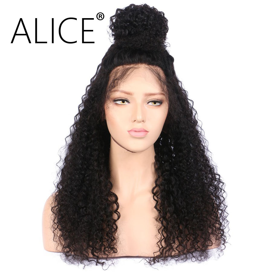ALICE 150 Density 360 Lace Frontal Wig Pre Plucked Non Remy 10-22 Inch Natural Black Kinky Curly Brazilian Wig With Baby Hair