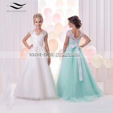 2016 New Charming Crepe Scoop A-line Cap Sleeves Flower Girl Dress 2016 Lace Bow Girls Pageant Dress Vestido de Daminha (SL-F73)