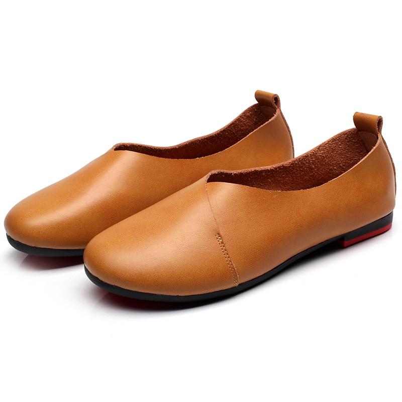 2017 Brand Genuine Leather Flats Women Shoes Original Vintage Art Handmade Shoes Shallow Mouth Casual Fashion