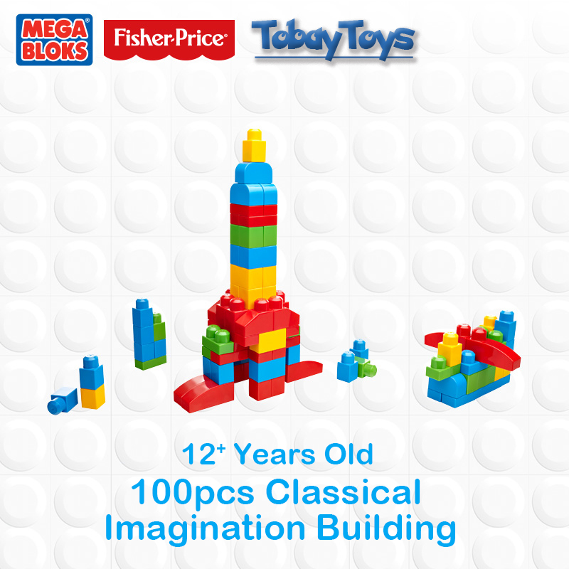 Genuine Brand Mega Bloks Brick Toy First Builders Series Imagination Building DIY Toy FFY 49 Place a I Imagination CXP09 original brand mega bloks first builders series big building bag children block toy play funny educational sac de blocs dch55 54