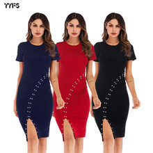 Vestido De Festa New Dress Round Collar Short Sleeve Fork Poised Under Nail Bead Pure Color Package Buttocks Cultivate Morality fashionable round collar short sleeve artificial leather pure color dress for women page 3 page 5 href