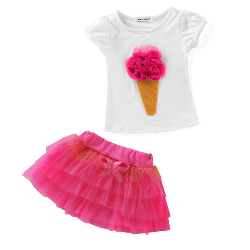Girls Dress 2018 new Summer baby girls clothes Short sleeve cotton t Shirt+dress 2Pcs Clothing sets Fashion 2-7 yrs Kids Clothes