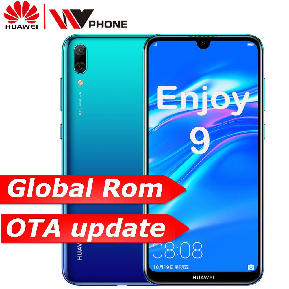 Global rom Huawe Desfrutar 9 Y7 2019 6.26 polegada 1520*720P telemóvel Snapdragon 450 núcleo octa Dupla AI traseira Câmera 4000 mAh