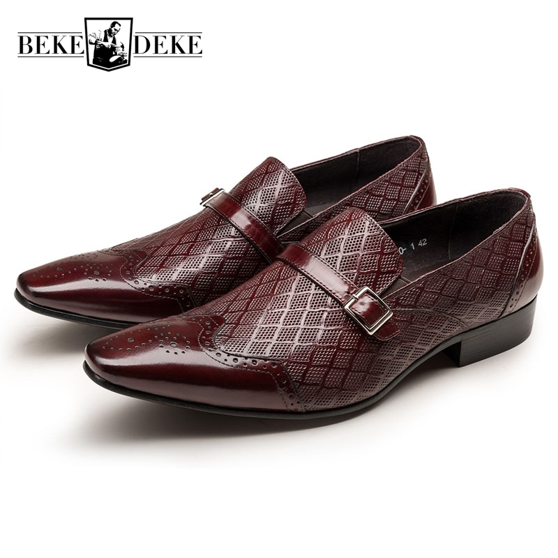 Wing Tip Men Formal Shoes Dress Shoes Slip On Pointed Toe Oxfords Work Shoes Business Shoes Male Fashion Buckle Big Footwear wing tip brogue shoes men fashion lace up pointed toe genuine leather male footwear business shoes work shoes formal shoes solid