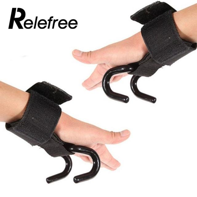 Gym Weight Lifting Glove Hook Training Wrist Power Prevent hand injury Gym Equipment Black New