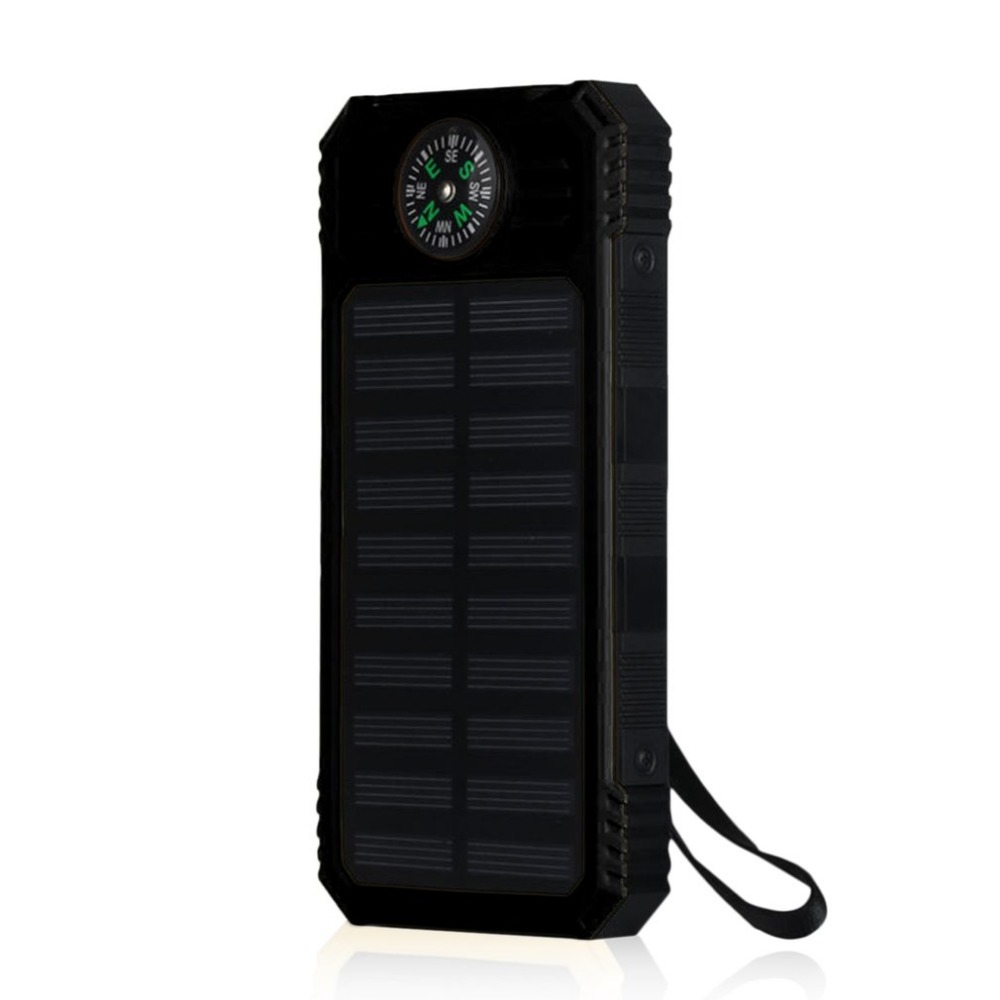20000mAh Universal Portable Source Ultra Thin Large Capacity Solar Mobile Power Bank Phone Charging Treasure With