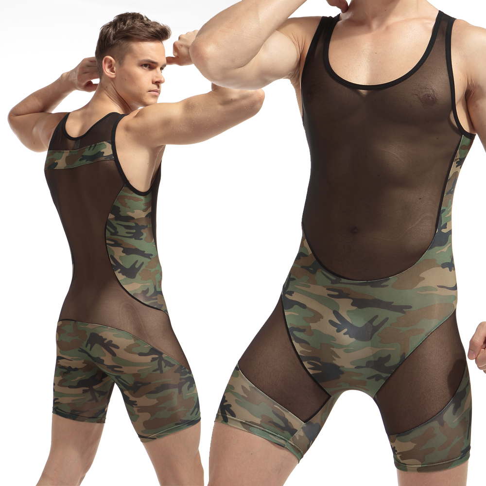 Mens Sexy Bodysuit Fashion 2017 Sexy Man Jumpsuit Wresting Undershirts Shapper Camouflage Nylon Ultra Thin Tight Splicing Body
