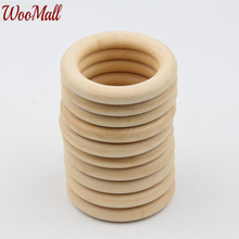 DIY 10pcs 60mm Round Circle Natural Wood color Wooden for Jewelry Making DIY Baby Teether Wooden Teething Baby Toys