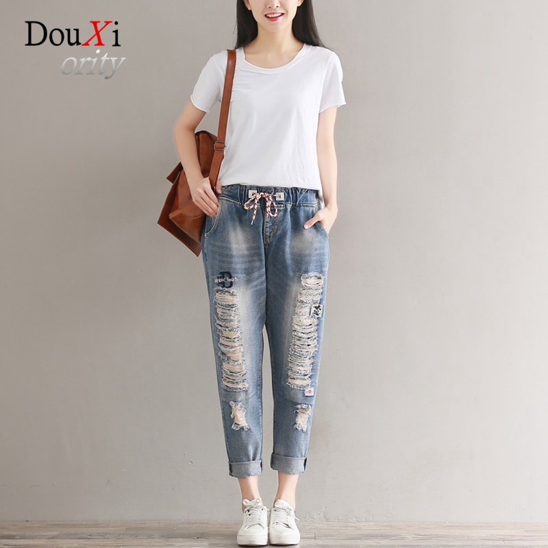 Jeans For Women Loose Casual Harem Pants Elastic Waist Hole Ripped Distressed Boyfriend BF Denim Pencil Tousers Calca Jeans jeans woman summer ripped boyfriend jeans for women red lips denim mid waist distressed pencil pants femme casual long pants z15