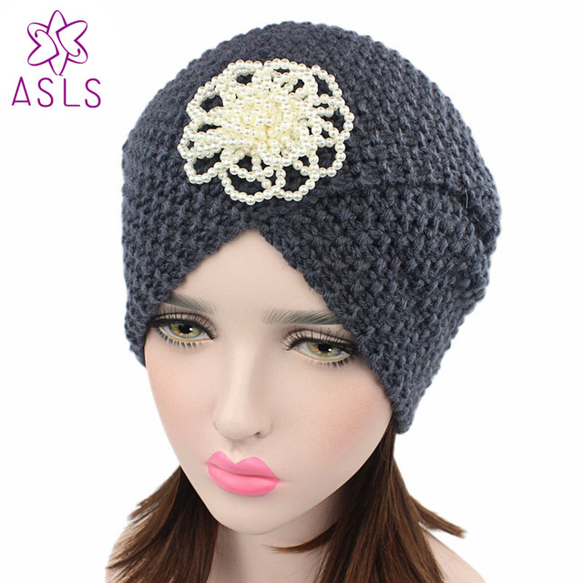 NEW Women Winter Handmade Turban Hat Women Beanie Winter Warm Soft Knit  Turban With pearl flower cdf35f35a0cf