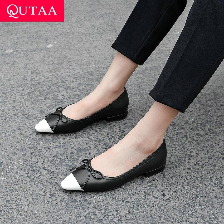 QUTAA 2019 femme appartements en cuir de vache talon bas nœud papillon bout pointu couleur mélangée belle printemps/automne chaussures souples taille 34-41