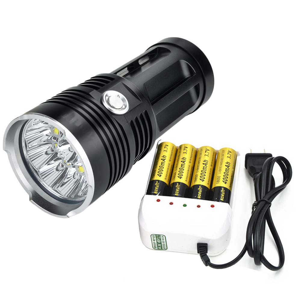 цена на LED Flashlight Torch 10 x CREE XM-L T6 10000lm LED Lamp Wide Range Light With Rechargeable 4*18650 4000mAh Battery and Charger