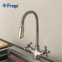 New Arrivel Double Handle Kitchen Faucet Goose Nose Tap Antique Brass Hot And Cold Water Mixer