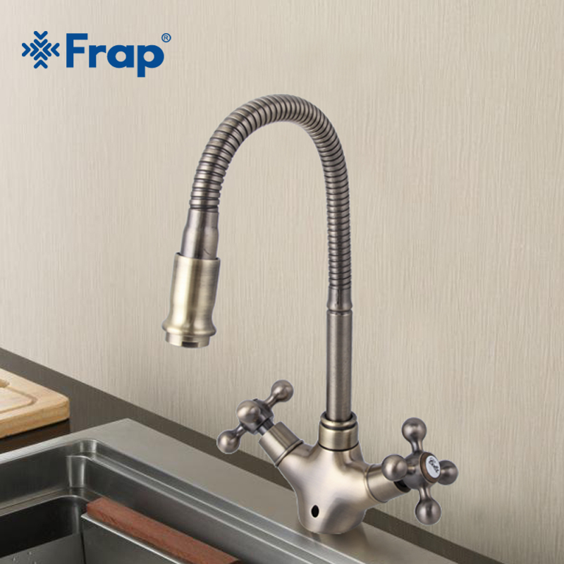 Frap New Arrival Double Handle Kitchen Faucet Goose nose Tap Antique Brass Hot and Cold Water Mixer 360 Degree Rotating F4319-4 brand new free shipping antique brass tap antique kitchen faucet