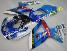 Hot Sales,k8 GSXR600 750 08 09 10 Motorcycle Fairing For Suzuki GSXR 600 750 2008-2010 Blue Race Body kits (Injection molding)