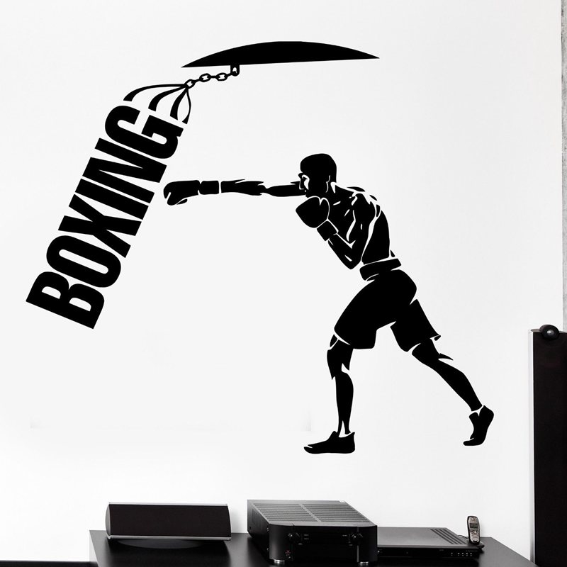 DCTAL Boxing Sticker Kick Boxing Decal Free Combat Named Posters Vinyl Striker Wall Decals Parede Decor Boxing Sticker