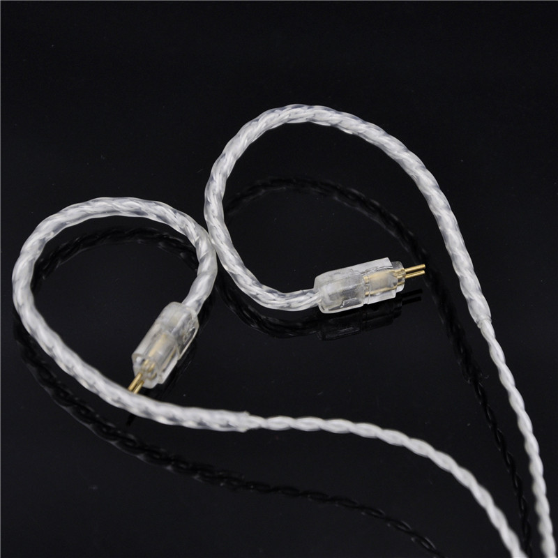 New 2pin 0.78 pin 4 Cell Single Crystal Copper Plated Silver Cable Earphone Upgrade Cable for Custom earphone new 2pin 0 78 pin 4 cell single crystal copper plated silver cable earphone upgrade cable for custom earphone