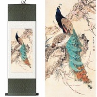Traditional Chinese Silk Watercolor Ink Animals Bird Peacock Phoenix Plum Art Canvas Wall Damask Picture Framed