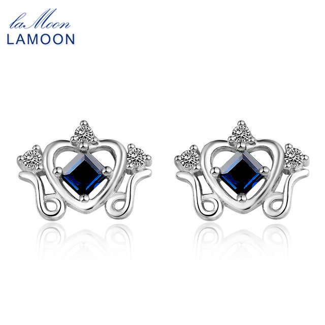Lamoon Princess Crown Stud Earrings For Women 0 2ct 100 Real Shire Jewelry 925 Sterling