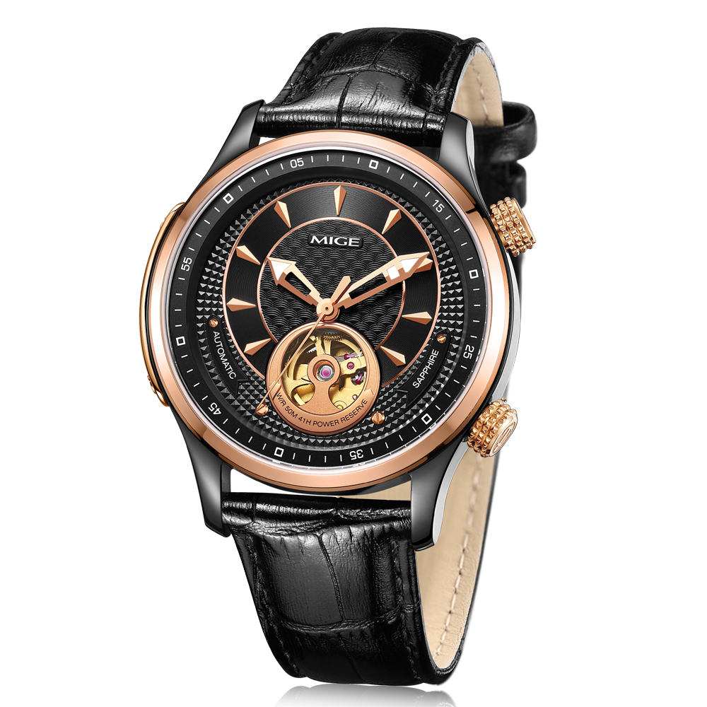 Mige 2018 New Top Brand de lux Skeleton mecanic Man Watch Rosegole - Ceasuri bărbați
