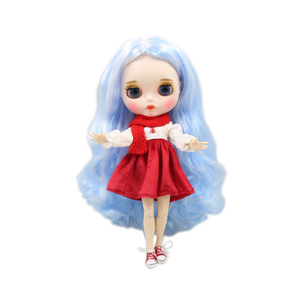 With Eyebrow Customized Face Joint Body Dolls & Stuffed Toys New Blyth United Doll No.136/6005 Blue Mix White Hair Toys Toys & Hobbies