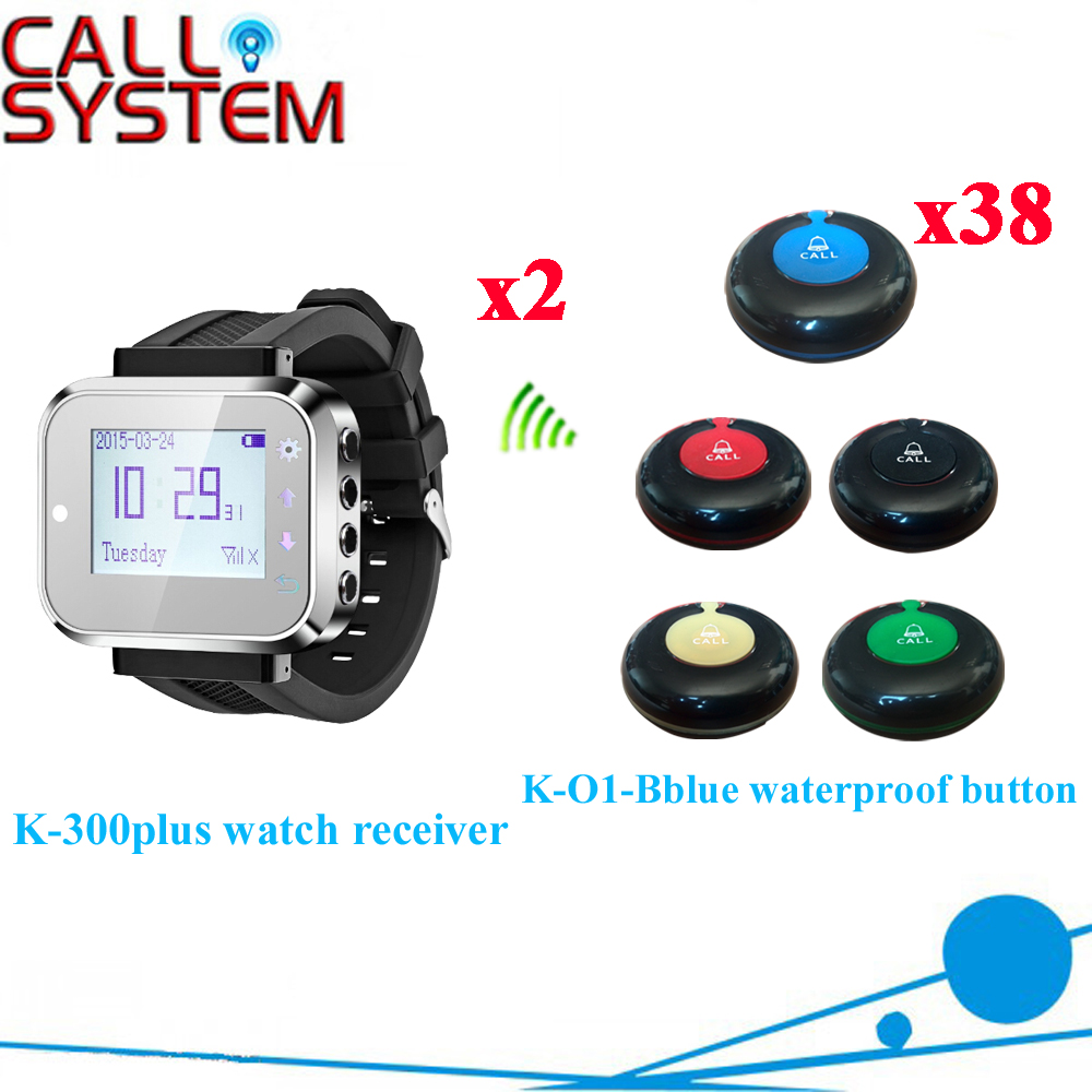 Table Buzzer Waiter Calling System Wireless Bell Watch Pager Receiver With 100% Waterproof Button(2 watch+38 call button)