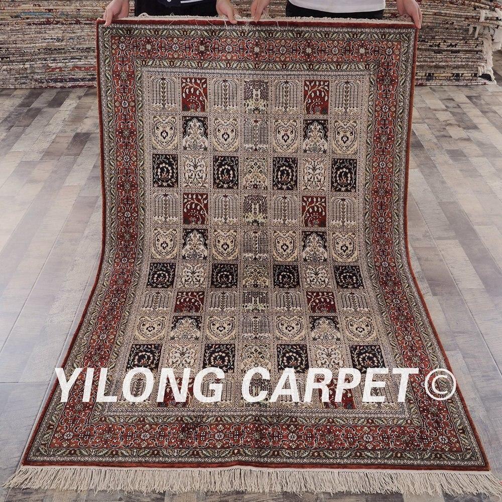 YILONG 4'x6 'tapis de soie persan traditionnel vantage fin turc quatre saisons tapis de soie (YHW756B4x6)