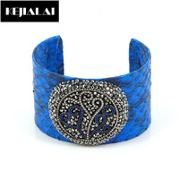 Fashion Women Jewelry Punk Style Bangle Python Leather Pave Rhinestone Crystal Wide Cuff Bangles Bracelets Pulseiras