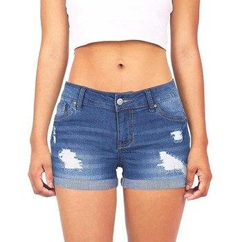 7cb8a0392d5 Короткие брюки синий 2019 женские брюки с низкой талией потертые рваные  Короткие мини джинсы джинсовые брюки шорты-30