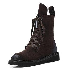 Image 2 - FEDONAS ماركة النساء حذاء من الجلد الخريف الشتاء البقر المدبوغ قصيرة السيدات أحذية امرأة كعب سميك الشرير أحذية نادي الحفلات الأساسية الأحذية