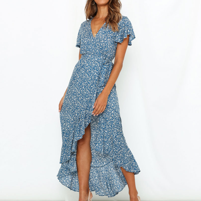 Summer Long Maxi Dress Women Casual Boho Floral Print Chiffon Beach Dress Sexy V-Neck Ruffles Bodycon Wrap High Slit Party Dress 1