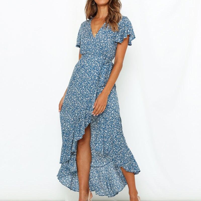 HiloRill Summer Long Maxi Dress Women Casual Boho Floral Print Beach Dress Sexy V-Neck Ruffle Bodycon Wrap High Slit Party Dress 1