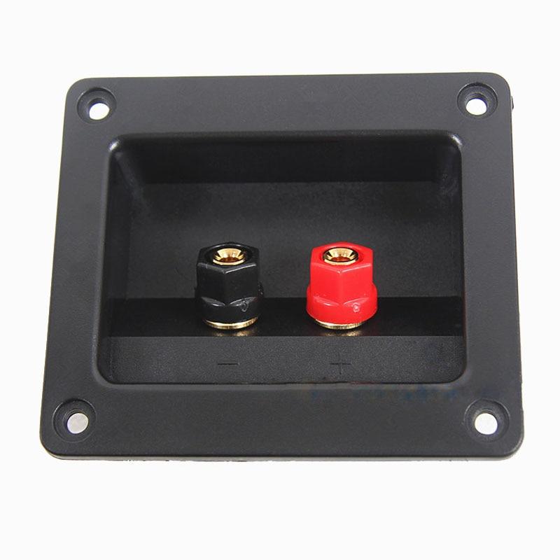Augstas kvalitātes divu skaļruņu sadales kārba Audio kabeļa savienotāju skaļruņu kārba ar sarkanu un melnu spaili, kas atveras 74 mm * 54 mm