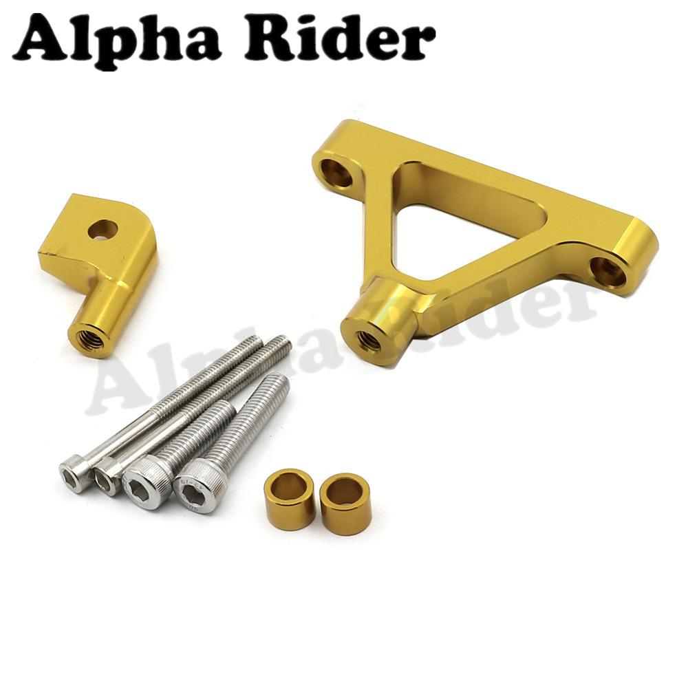 Gold CNC Aluminum Direction Steering Damper Stabilizer Support Holder Bracket W/ Mounting Kits for Kawasaki Ninja ZX6R 2007-2008 cnc steering damper complete set for kawasaki zx6r 636 2007 2008 w bracket kits