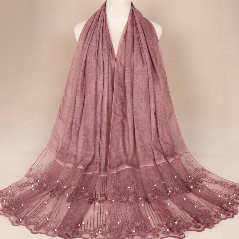 Luxury women floral lace beads scarf bandhnu cotton muslim hijab wraps pearl headband carves scarf 11