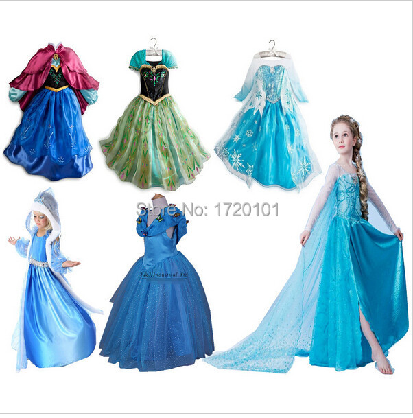 New 2017 Summer Style Baby Girls Dresses Princess Fever anna elsa dress Cosplay costume Kids cartoon girl dresses for children elsa dress sparkling snow queen elsa princess girl party tutu dress cosplay anna elsa costume flower baby girls birthday dresses