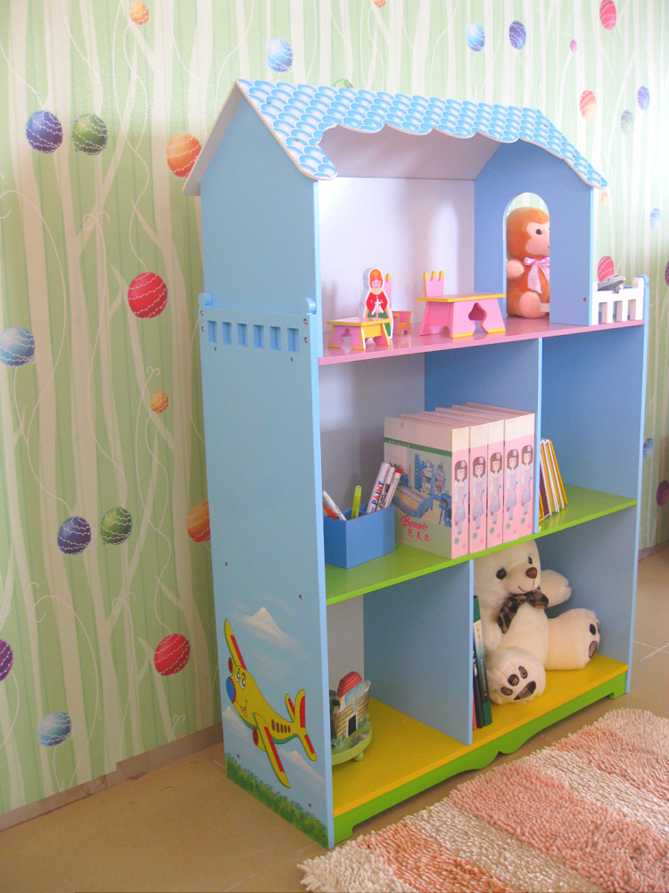 Children's Cartoon  Originality Bookrack  Storage Bookrack   The Doll House Type Simple Shelf  Fence  Bookrack  Assembly