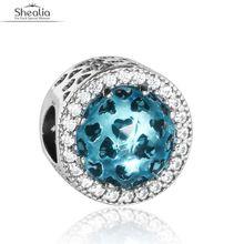 Fit Shealia pulseras Diy cielo azul y CZ pavimenta granos del encanto de plata de ley 925 abstracta calado detalle del corazón de los encantos BD299