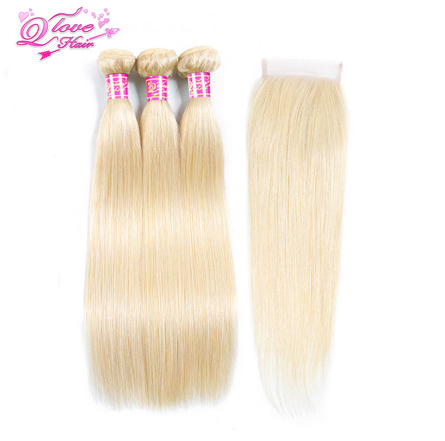 Queen Love Pre Colored 613 Blonde Human Hair With Closure Peruvian Straight Wave Bundles With Lace