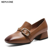 NEMAONE Spring women single shoes New square head cow leather shoes lacquer leather shoes med heel shoes