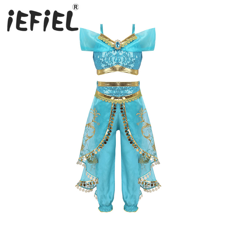 Girls Children Princess Jasmine Dress Halloween Clothes For Kids Children's Set Jasmine Top Pants Cosplay Costume For Dress Up