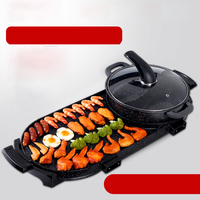 Electric BBQ furnace Household non smoking electric baking plate non stick barbecue machine Maifanshi shabu in one