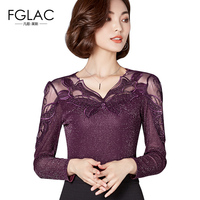 FGLAC Women Blouses New Arrivals 2017 Autumn Mesh Tops Women Fashion Elegant Slim Blouse Shirt Long