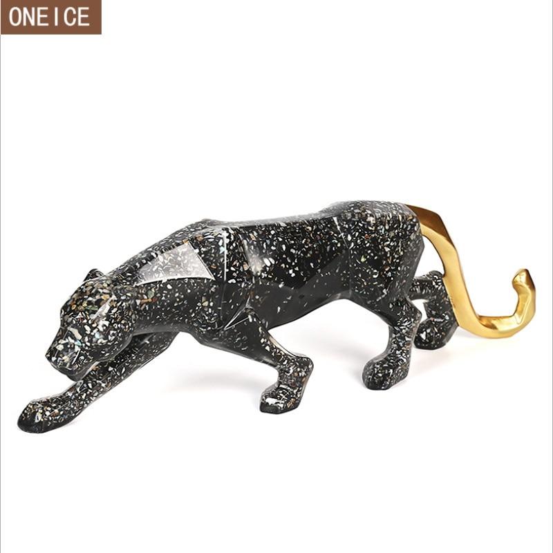 Nowoczesne abstrakcyjne leopard rzeźba statua wysokiej jakości geometryczne żywica leopard statua dzikie zwierzę zestaw do pakowania prezentów akcesoria do dekoracji w Posągi i rzeźby od Dom i ogród na  Grupa 1