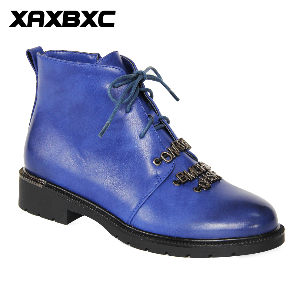 XAXBXC 2018 Retro British Winter Blue PU Leather Metal letters Short Ankle Boots Warm Women Boots
