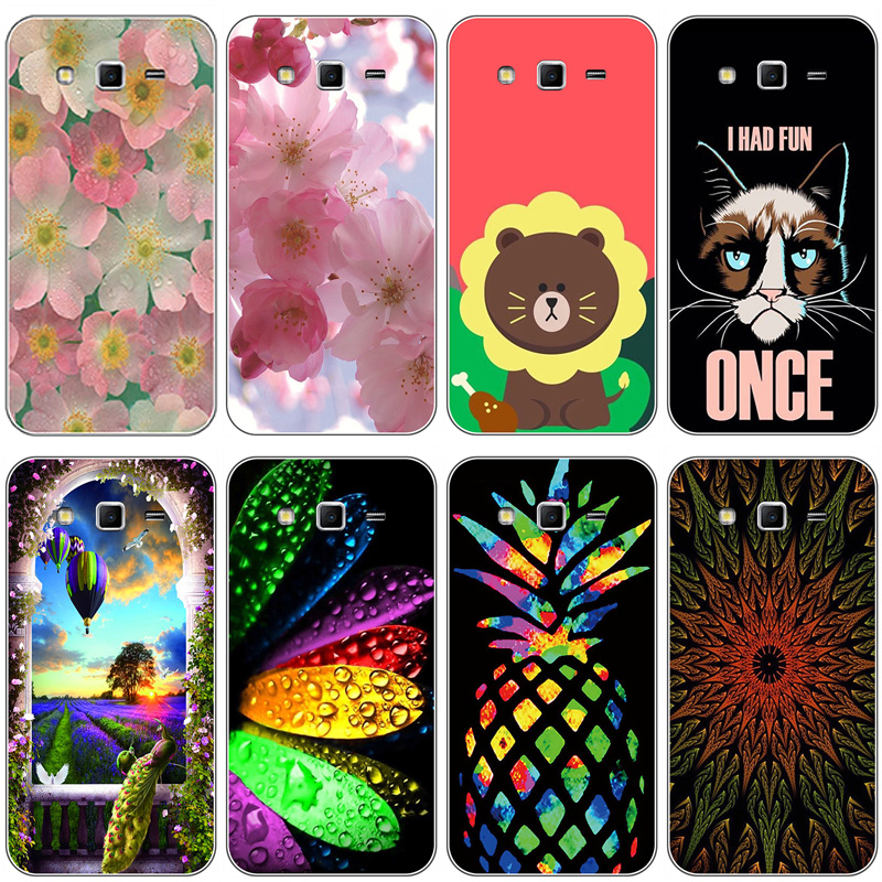 Soft TPU Phone <font><b>Cases</b></font> For <font><b>Samsung</b></font> Galaxy <font><b>Grand</b></font> <font><b>2</b></font> <font><b>G7102</b></font> G7105 G7106 G7108 G7109 G7100 G71S SM-<font><b>G7102</b></font> Covers Bear Dog Flower Bags image