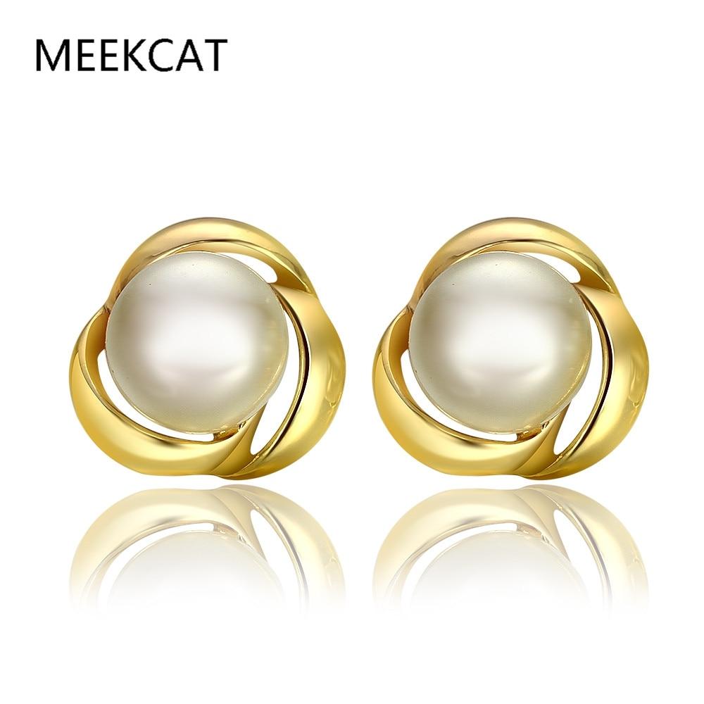 Meekcat 2017 Fashion Pearl Earrings Imitation Pearl Rose Flower Gold Color Earrings  Pearl Jewelry Oorbellen For