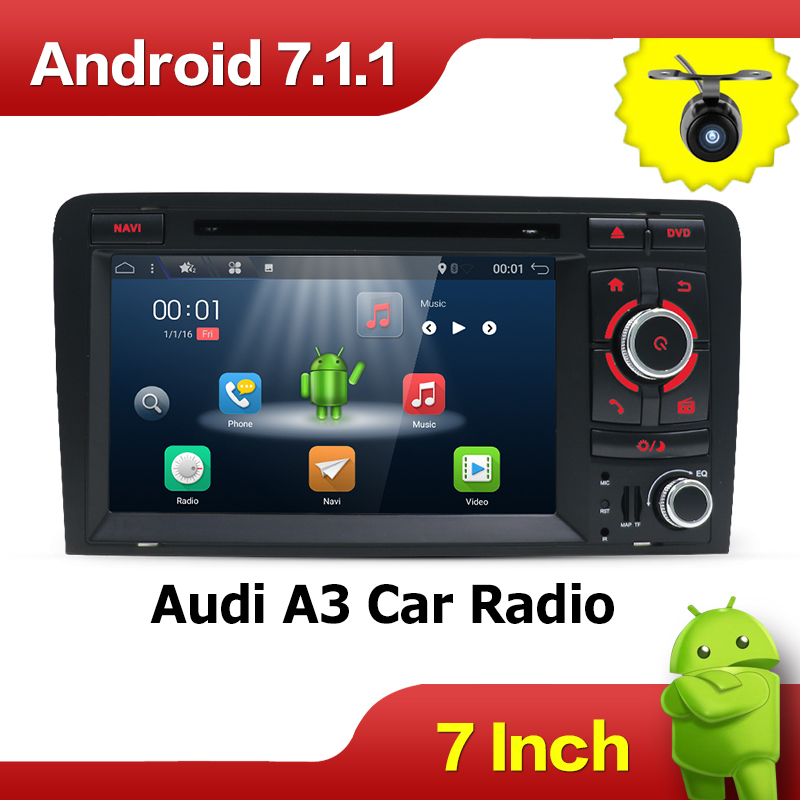 Android 7.1 Quad Core 7 Inch In Dash Car DVD Player For Audi A3 2002-2011 With Canbus Wifi GPS Navigation BT Radio Free Map 7 android 4 2 capacitive screen car dvd player w ips gps rds wifi radio aux bt for audi a3