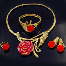 Liffly Bridal Dubai Gold Jewelry Sets Nigerian Wedding Bridesmaid Fashion Jewelry Sets for Women Necklace Earrings Ring