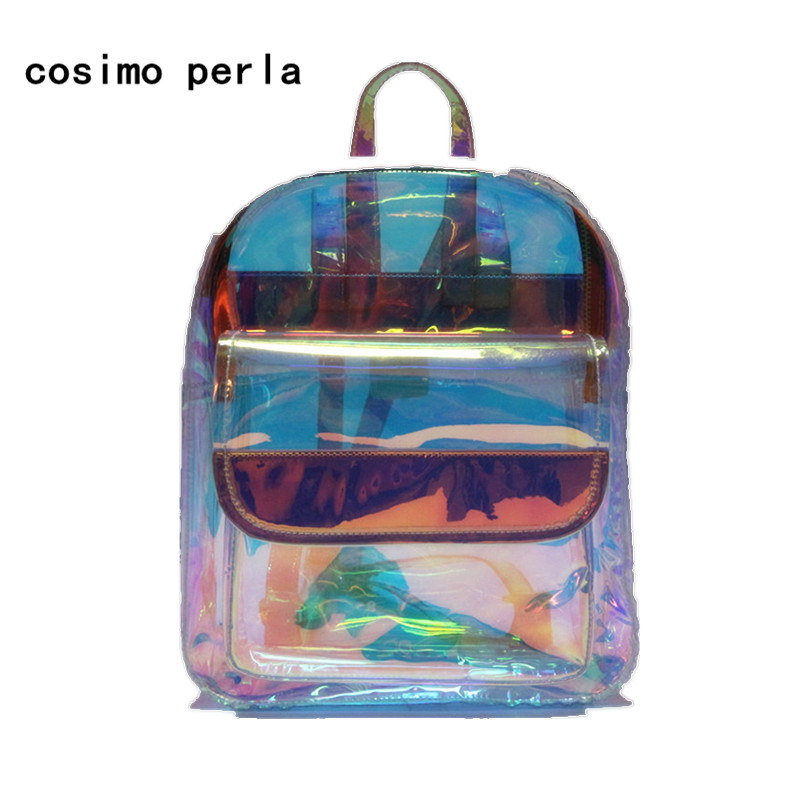 Holographic Women Laser Backpack Korean Clear PVC Backpacks for Teenage Girls Student School Bag Travel Waterproof Shoulder Bag women laser backpack geometric shoulder bag student s school bag luminous backpack laser sequins folding bags daily backpacks